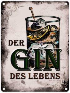 Der Gin Sinn des Lebens Glas Schild retro und antik